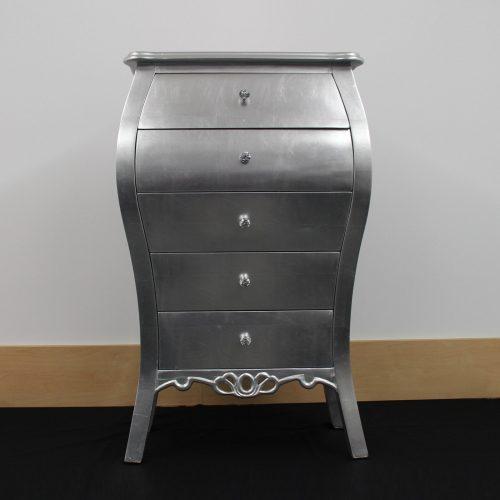 Herve 5 Drawer Silver Cabinet